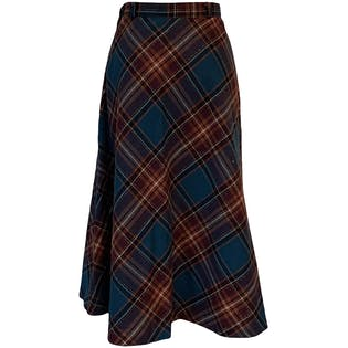 50's Plaid Wool Midi Skirt