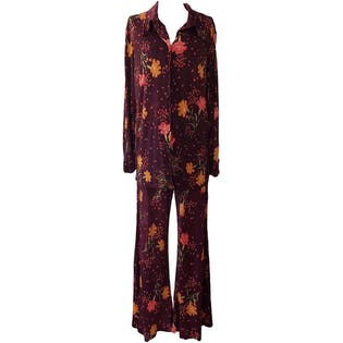 50's Purple Floral Print Button Up and Pant Set