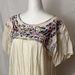 60's/70's Embroidered Gauze Cotton Top