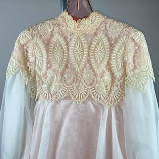 60's/70's Pink Wedding Dress with Empire Waist, Bishop Sleeve and Detachable Train by Emma Domb