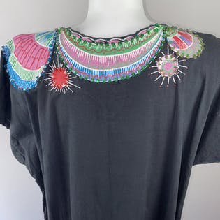 70's Hand Painted Sequin Beaded Black Cotton Kaftan Dress