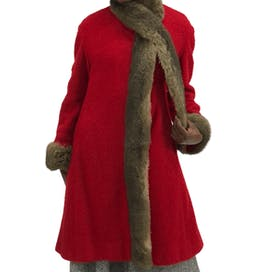 60's Red Fur and Wool Cuddle Coat by Rollman's