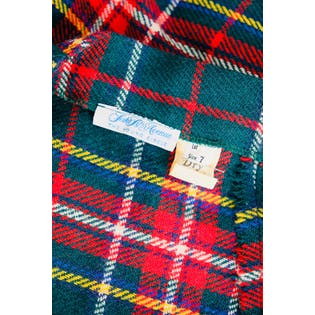 60's Green and Red Plaid Tartan Mini A-Line Skirt by Saks Fifth Avenue