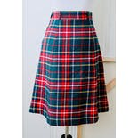 another view of 60's Green and Red Plaid Tartan Mini A-Line Skirt by Saks Fifth Avenue