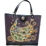 60's Jeweled Peacock Tote Purse