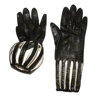 60's Mod Black and White Kid Leather Gloves