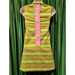 another view of 60's Mod Pink Green Stripe Micro Mini Dressby Karinda