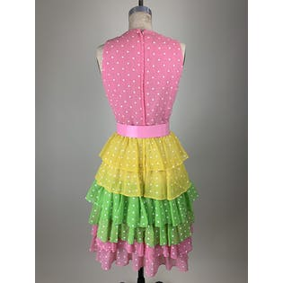 60's Deadstock Multi Color Tiered & Polka Dot Dress by Miss Continental