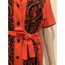60's Spectacular Alfred Shaheen Orange and Black Shirt Dress by Alfred Shaheen