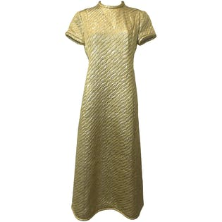 60's Textured Oversized Maxi Dress by Lee Claire By August De Lorenzo
