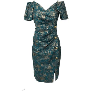 60's Turquoise Jacquard Off The Shoulder Tinsel Floral Dress by Girline