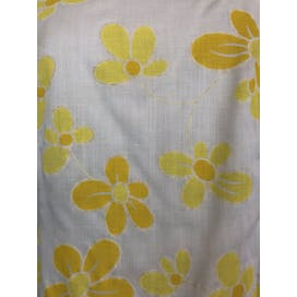 60's Yellow Floral Print Sleeveless Shift Dress
