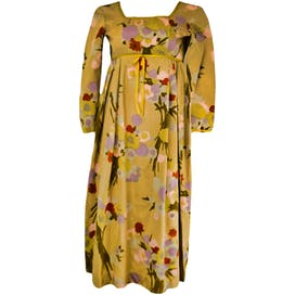 60's/70's Beige Floral Quarter Sleeve Dress by Jane Martin II