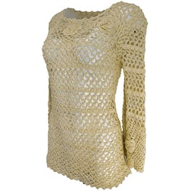 60's/70's Cream Crocheted Top