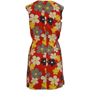 60's/70's Floral and Checkered Dress
