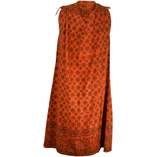 60's/70's High Neck Orange Patterned Dress by Popolo