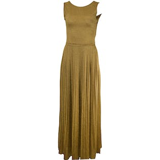 60's/70's Low Back Gold Pleated Maxi Dress