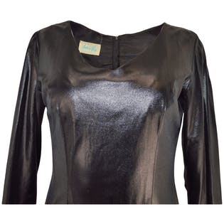 60's/70's Shiny Black Mini Dress by Andree Gay
