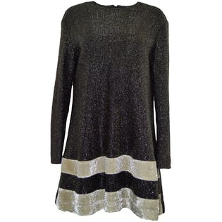 60's Black and Silver Trapeze Dress by Marion Kops