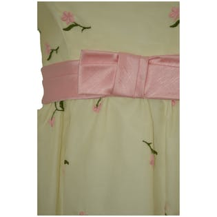 60's Cream Tank Top Dress with Pink Floral and Belt