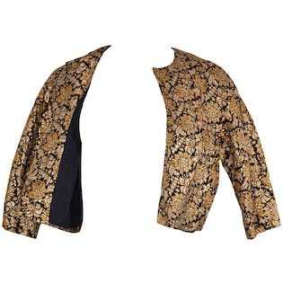 60's Crop Black and Gold Brocade Jacket by Kimie