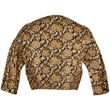 another view of 60's Crop Black and Gold Brocade Jacket