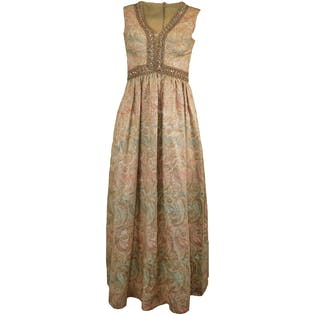 60's Golden Brocade Gown by Romantica