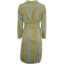 60's Green Striped Dress with Crystal Buttons by I. Magnin