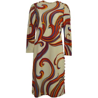 60's Multicolor Dress with Button Detailing by I. Magnin