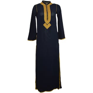60's Navy Maxi Dress with Gold Trim by Fukia