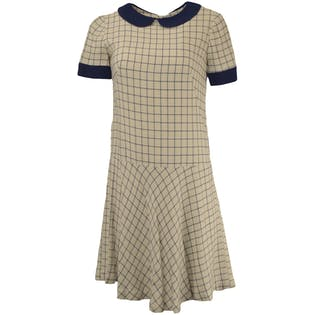 60's Navy and White Patterned Dress with Peter Pan Collar by Elizabeth Solomonian