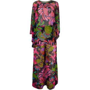 60's Pant Suit with Matching Belt and Big Pink Print by Apropos