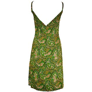 60's Sequined Paisley Printed Dress by Victoria Royal ltd