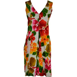 60's Short Hawaiian Dress With Pleat Cape by Tohki