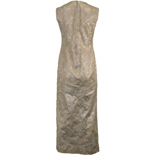 60's Ivory & Silver Brocade Gown by Carol Craig