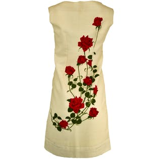 60's Sleeveless Rose Printed Dress by Shaheen