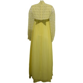 60's Yellow Dress with Floral Lace Long Sleeves