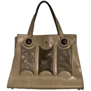 60's Beige and Brown Leather Handbag by Jean Fogel
