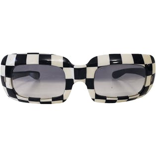 60's French Black and White Checkered Sunglasses