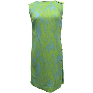 60's Blue and Green Abstract Print Shift Dress by R&K Originals