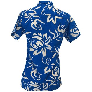 60's Blue and White Hawaiian Shirt by Hawaiian Holiday