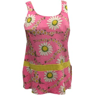 60's Pink and Daisy Print Sleeveless Blouse