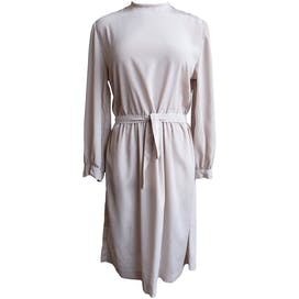 60's Cream Long Sleeve Dress with Belted Waist