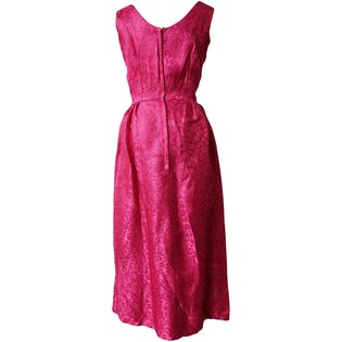 60's Bright Pink Gown with White Neckline and Waist