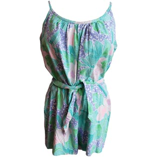 60's Sleeveless Green Floral Romper