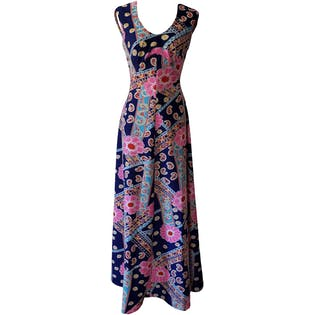 60's Sleeveless Hawaiian Maxi Dress