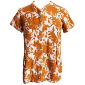 60's Soft Orange Button Up with White Print by Phoenix