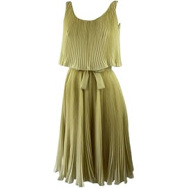 60's Tan Accordion Pleat Chiffon Party Dress with Cape Overlay