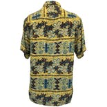 another view of 60's Yellow, Blue and Brown Hawaiian Shirt by South Pacific