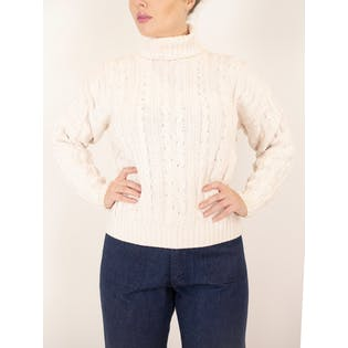 90's Cream Long Sleeve Turtle Neck Cable Knit Sweater by Banana Republic